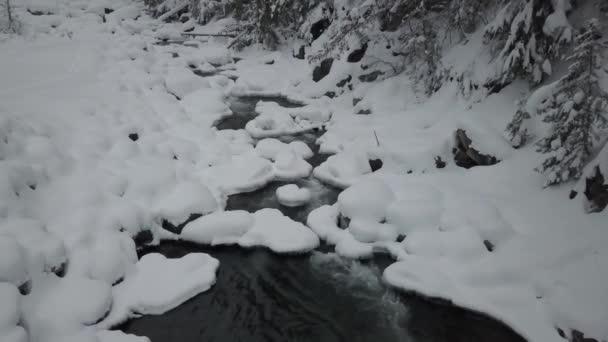 Luftbild-Drohne Aufnahmen von einem wunderschönen Fluss fließt über einen Bach im Tal im Winter. Aufgenommen in der Nähe von Kootenay Lake, British Columbia, Kanada.