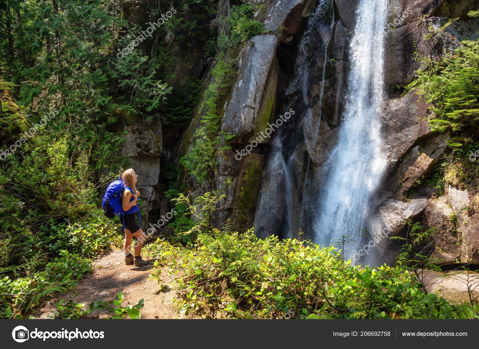 Adventurous Woman Hiking Beautiful Canadian Nature Sunny