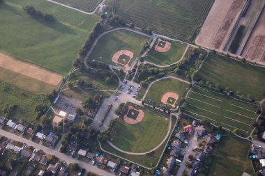 Aerial view of Baseball Fields during a summer evening. Taken in Chilliwack, East of Vancouver, BC, Canada.