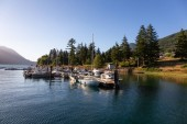 Photo Port Alice, Northern Vancouver Island, BC, Canada - August 16, 2018: Beautiful view of the Marina during a vibrant sunny summer evening.
