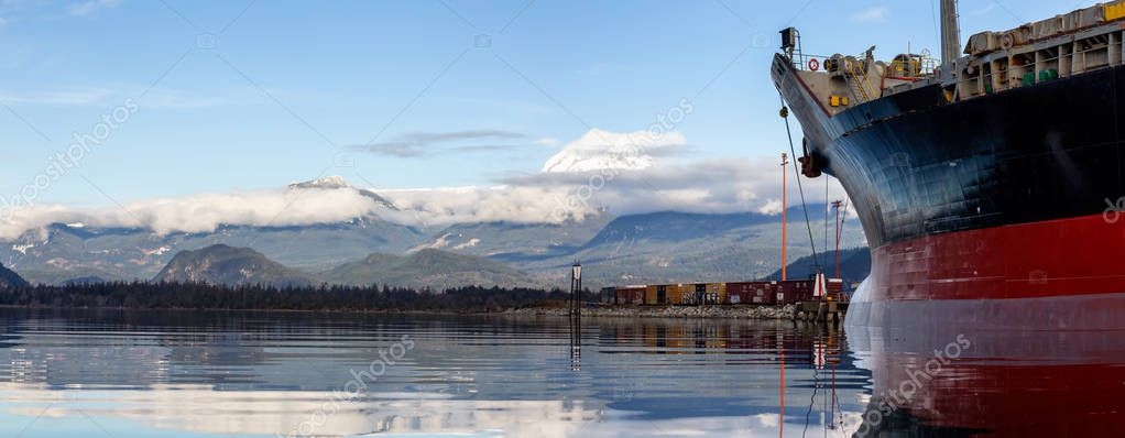Squamish, British Columbia, Canada - January 1, 2019:  Ship parked at a Port during a winter day.