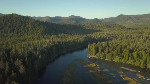 Luftbild-Drohne Blick auf Alice See an einem lebendigen sonnigen Tag. Genommen in Nord Vancouver Island, British Columbia, Kanada.