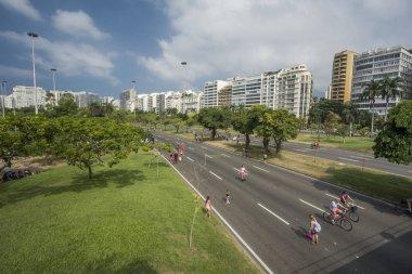 Beautiful landscape with trees in the leisure area Aterro do Flamengo and city buildings, Rio de Janeiro, Brazil