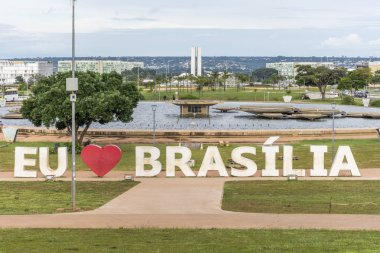'I Love Brasilia' on giant letters in Burle Marx Gardens, central Brasilia, Federal District, capital city of Brazil