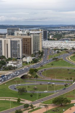 View from the TV Tower to Burle Marx Gardens and circular streets in central Brasilia, Federal District, capital city of Brazil