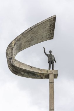 JK Memorial statue with cloudy sky, Brasilia, Federal District, capital city of Brazil
