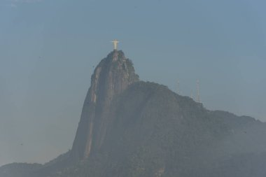 Beautiful landscape from Urca to Corcovado Mountain and Christ the Redeemer in the Tijuca Forest on the morning light, Rio de Janeiro, Brazil
