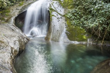 Beautiful Atlantic Rainforest round waterfall landscape with crystal clear blue water in Serrinha Ecological Reserve, Rio de Janeiro, Brazil