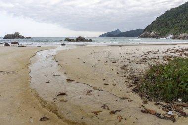 Beautiful tropical landscape with small river in Santo Antonio Beach, Ilha Grande, Costa Verde, south Rio de Janeiro, Brazil