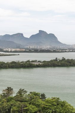 Beautiful landscape of lagoon and mountains seen from the Olympic Village (now residential buildings) in Barra da Tijuca, Rio de Janeiro, Brazil