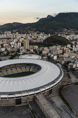 Aerial view to Maracana Stadium during helicopter flight in Rio