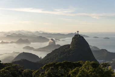 Beautiful view to city, ocean, mountains and Christ the Redeemer