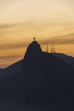 Landscape of Christ the Redeemer and Corcovado mountain in Rio d