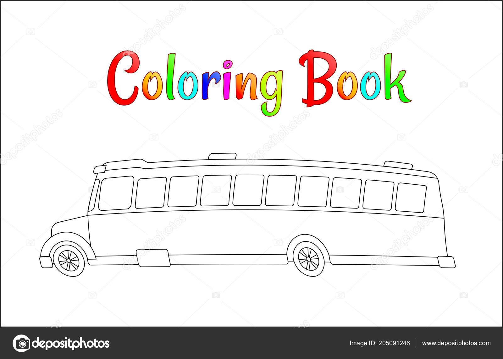 学校のバスのぬりえページ学校のコンセプトに戻って子供学校ベクトル図