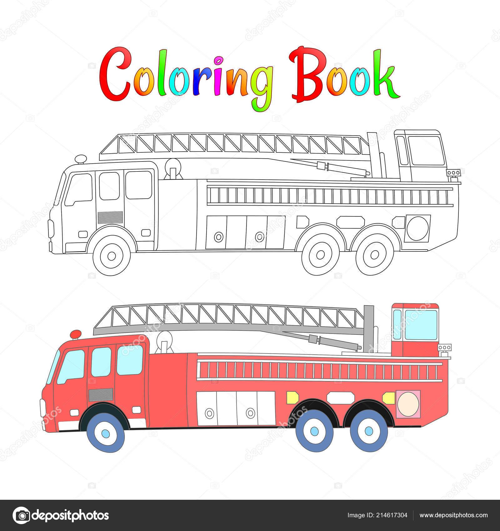 Itfaiye Arabası Kitap Vektör Boyama Vektör çizim Eps 10 çocuklar