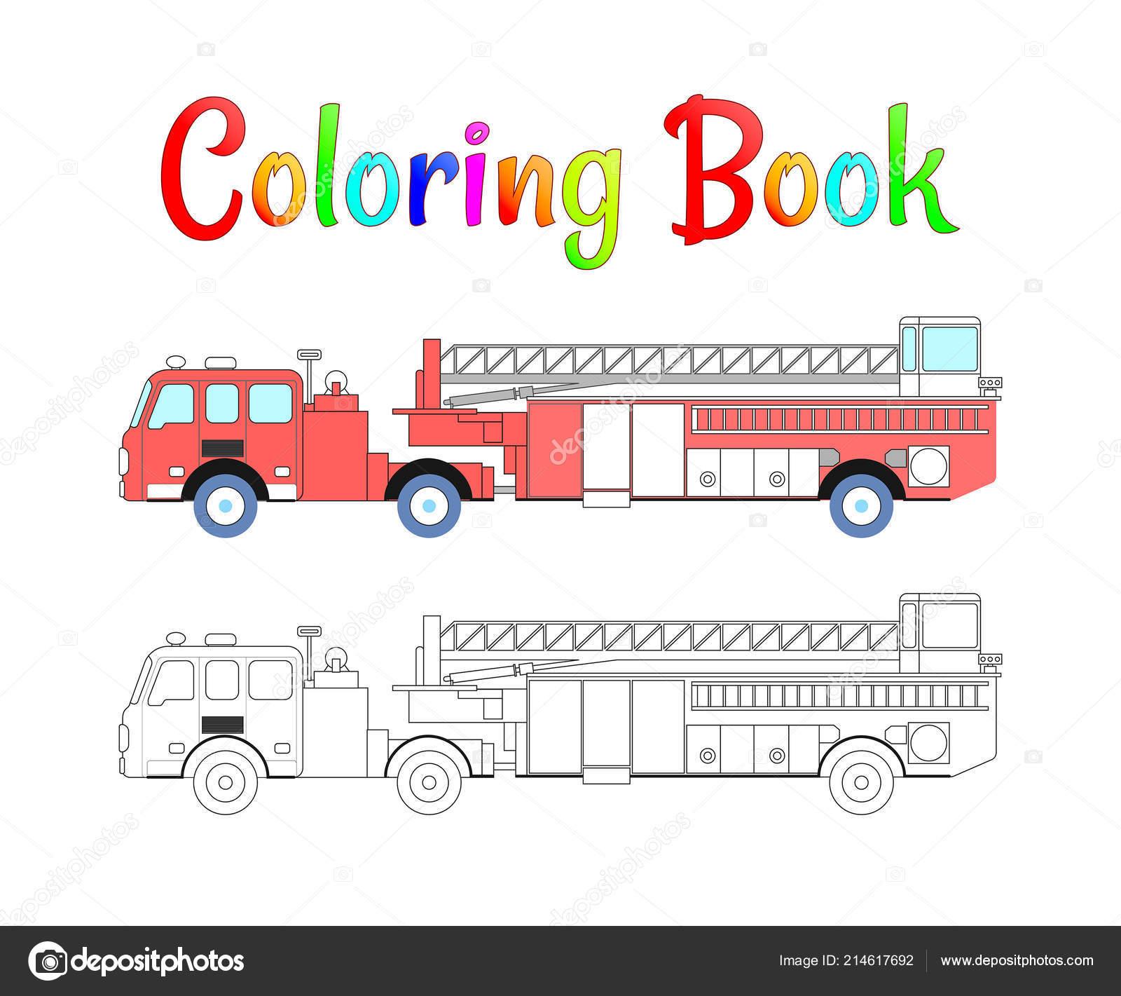 Feuerwehrauto Färbung Buch Vektor Malvorlagen Für Kinder Vector