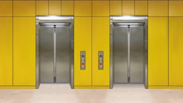 Posuvné ocelové dveře se otevřou a ukazují vnitřek zdviže. Kancelářskou budovu se žlutými stěnami.