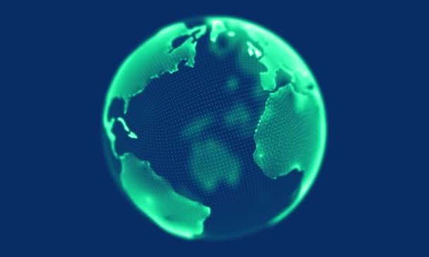 grüne Weltkugel, die sich auf blauem Hintergrund dreht. Looping-Animation.