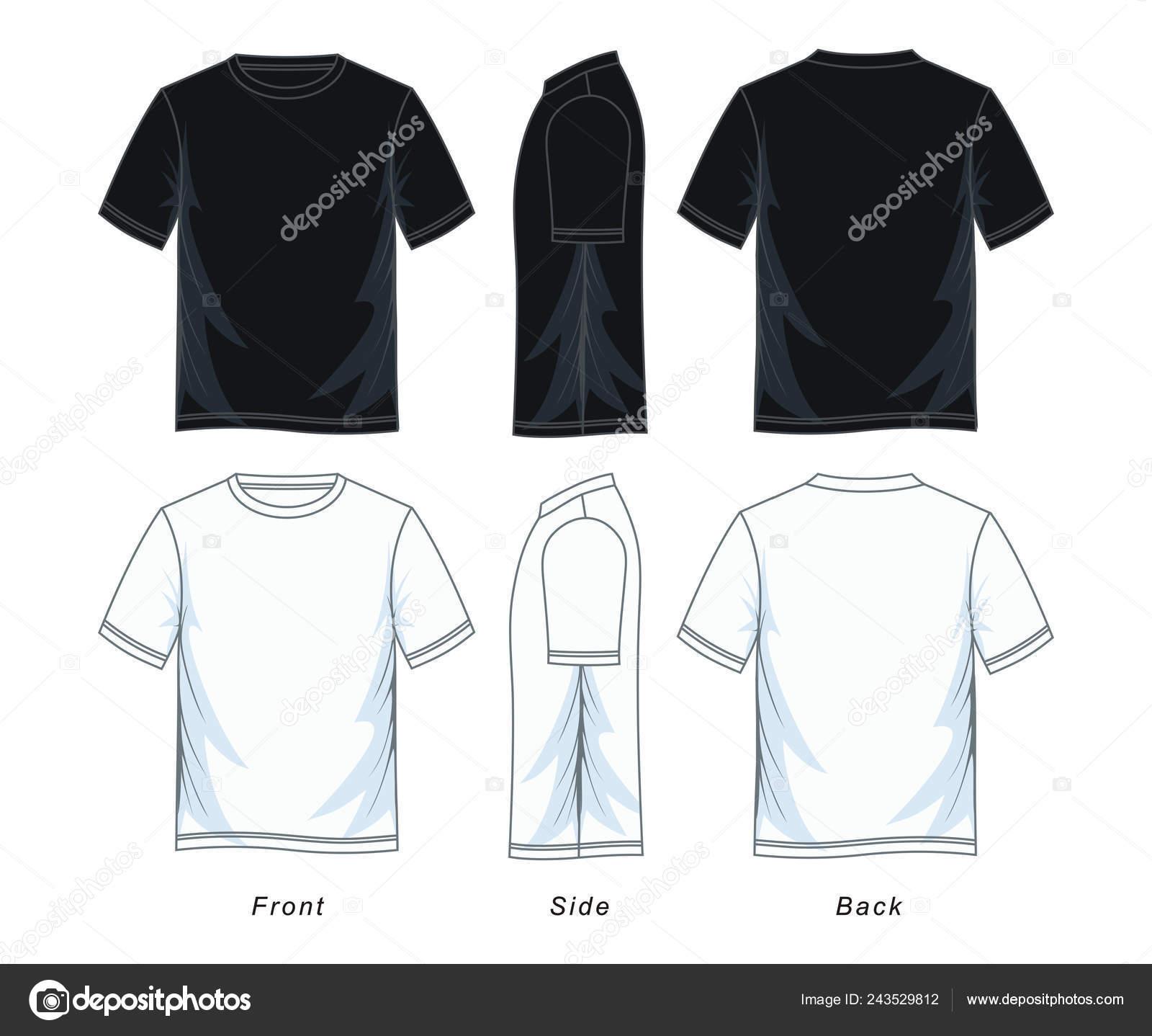 487298680 Men's short sleeve round neck t-shirt templates, Front, side and back  views. Black white variants. Vector illustration.