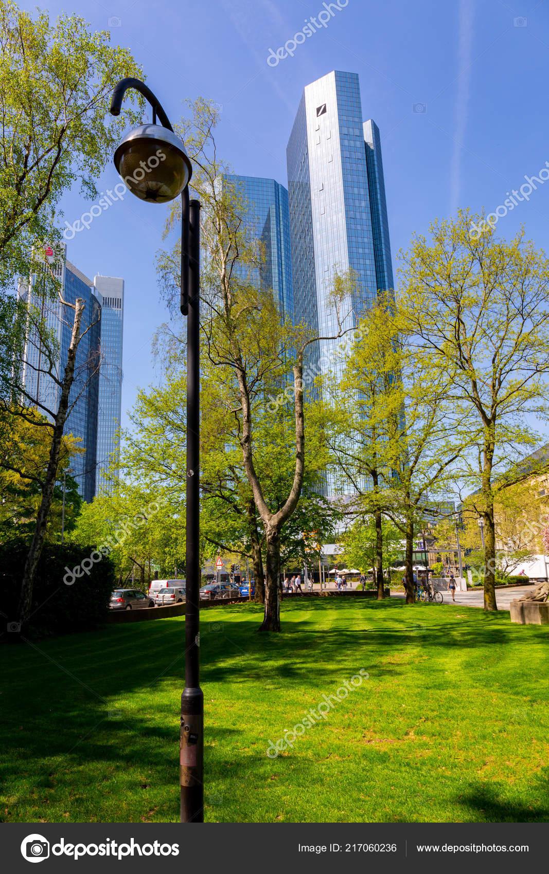 View Bottom Towers Headquarter Deutsche Bank Frankfurt Main