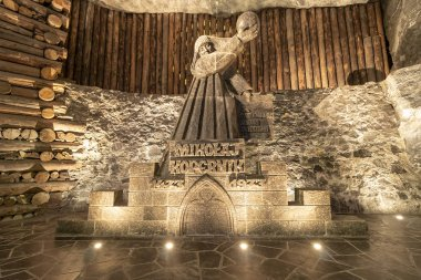 Wieliczka, Poland June 2, 2018: Monument to Nicolaus Copernicus  in the Wieliczka Salt Mine. Opened in the 13th century, the mine produced table salt. Is as one of the world's oldest salt mines.