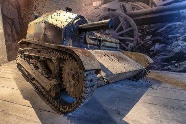 Krakow, Poland - June 3, 2018: Tankette of world war II in Oskar Schindler's Enamel factory museum