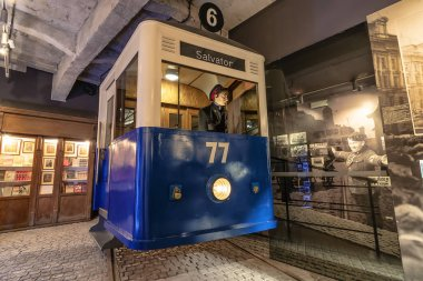 Krakow, Poland - June 3, 2018: old tramway used in german-occupied Poland inside Oskar Schindler's Enamel factory museum