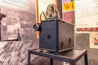 Krakow, Poland - June 3, 2018: Old  movie projector in Oskar Schindler's Enamel factory museum