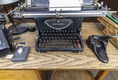 Krakow, Poland - June 3, 2018: Original typewriter used by Oskar Schindler secretary to write the Oskar Schindler's list. He saved about 1100 Jews from extermination. On display in Oskar Schindler's Enamel factory museum