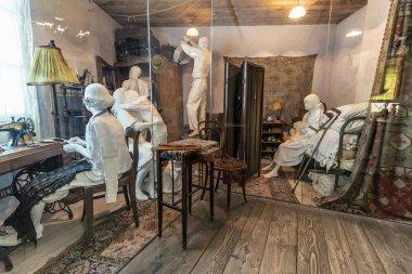Krakow, Poland - June 3, 2018: Representation of live style of Jewish people in ghettos in German-occupied Poland. Inside Oskar Schindler's Enamel factory museum