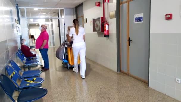 Huelva, Spain - June 16, 2020: Cleaning service inside the hospital Juan Ramon Jimenez in Huelva, Spain