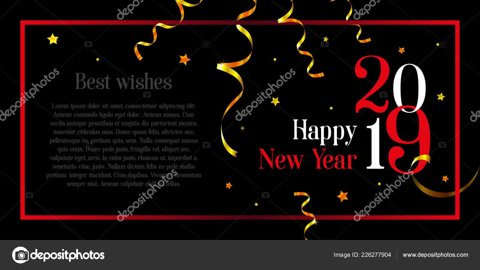 happy new year stylish card space your text black background stock vector