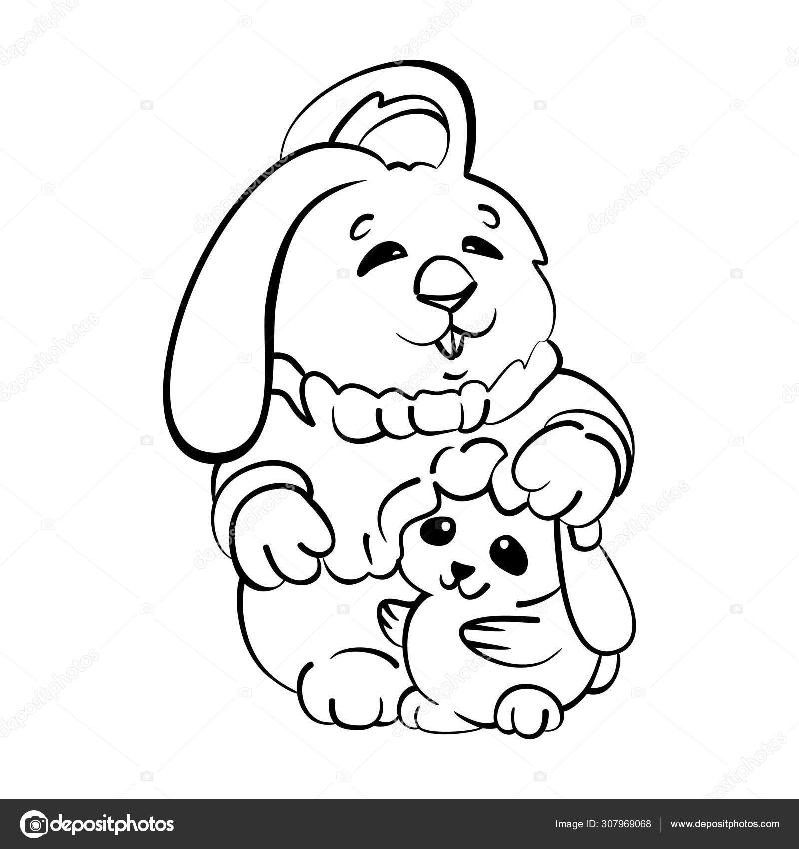 Vector Illustration Coloring Page Cute Cartoon Rabbits Mom Baby Concept Vector Image By C Art Rich Vector Stock 307969068
