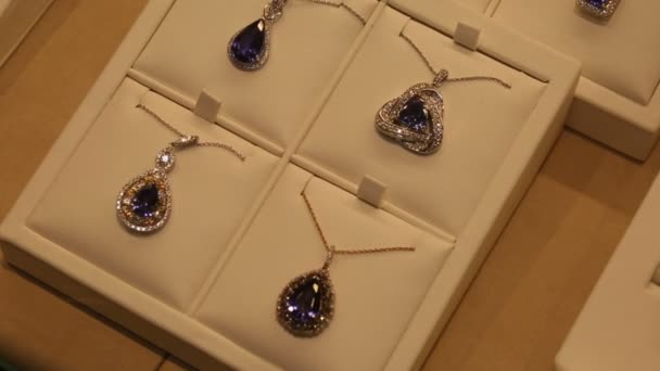 Necklaces with pendant in jewelry store