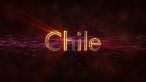 Chile - lesklý, opakování animace textu název země