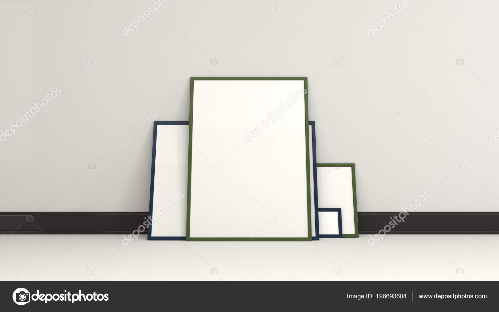 Blank White Posters Black Frames Standing Floor Wall Picture Photo ...