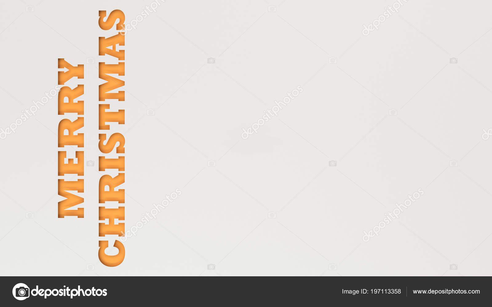 orange merry christmas words cut white paper rendering illustration stock photo - Merry Christmas Words