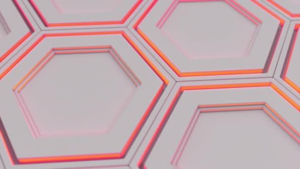 Abstrakten technologischen Hintergrund aus weißen Sechsecken mit roten Schein gemacht. Wand aus Sechsecken. 3D Render-illustration
