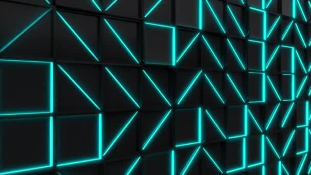 Černý obdélník obkládačky s modře zářící prvky. Mřížka z čtvercové dlaždice. Abstraktní pozadí. 3D vykreslování