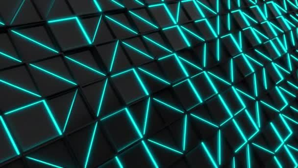 Wall of black rectangle tiles with blue glowing elements. Grid of square tiles. Abstract background. 3D render