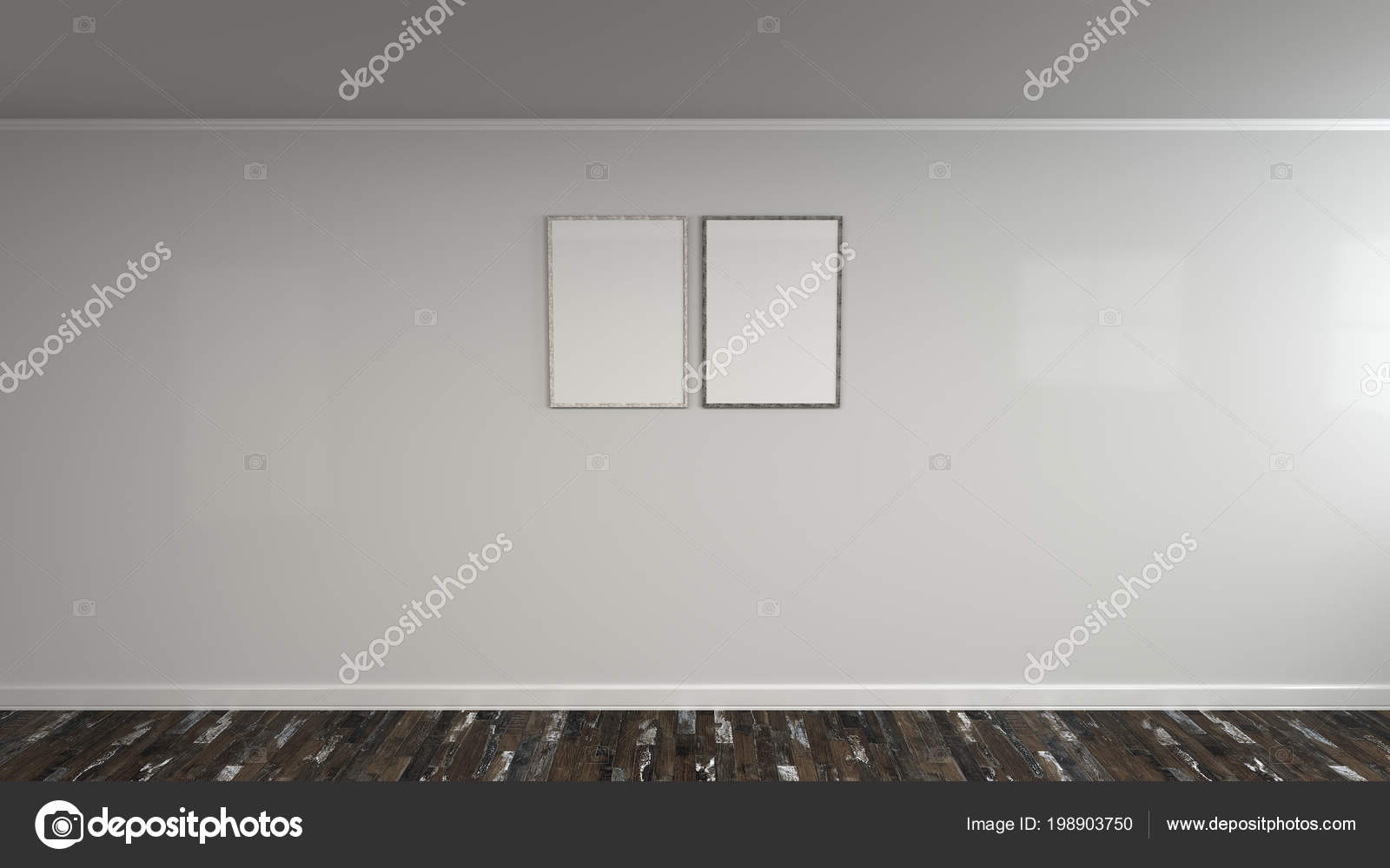 Blank White Poster Wooden Frame Wall Picture Photo Mockup Render ...