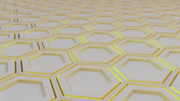 Abstrakten technologischen Hintergrund aus weißen Sechsecken mit gelben Schein gemacht. Wand aus Sechsecken. 3D Render-illustration