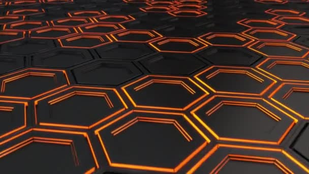 Abstract Technological Background Made Of Black Hexagons With Orange Glow Wall Of Hexagons 3d Render Illustration