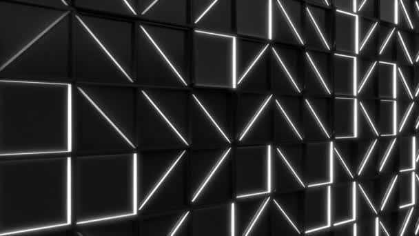 Wall of black rectangle tiles with white glowing elements. Grid of square tiles. Abstract background. 3D render