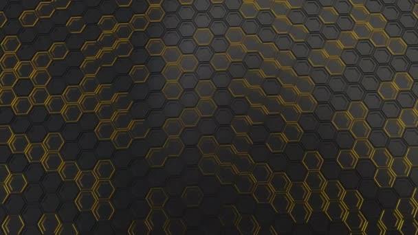 Abstrakten technologischen Hintergrund schwarz Sechsecke mit gelben Schein gemacht. Wand aus Sechsecken. 3D Render-illustration