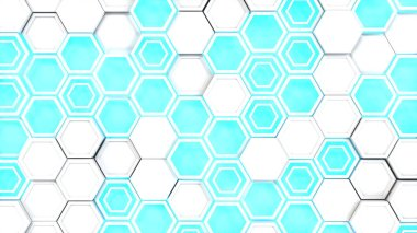 Abstract 3d background made of white hexagons on blue glowing background. Wall of hexagons. Honeycomb pattern. 3D render illustration