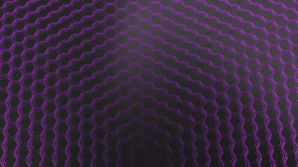 Abstrakte technologischen Hintergrund gemacht aus schwarzen Sechsecken mit lila Schimmer. Wand aus Sechsecken. 3D Render-illustration