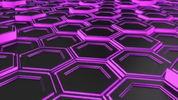 Absztrakt technológiai háttér készült fekete hatszög lila izzás. Fala hexagons. 3D render illusztráció