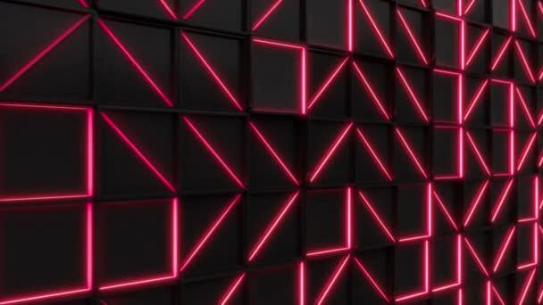 Černý obdélník obkládačky s červenými prvky, zářící. Mřížka z čtvercové dlaždice. Abstraktní pozadí. 3D vykreslování