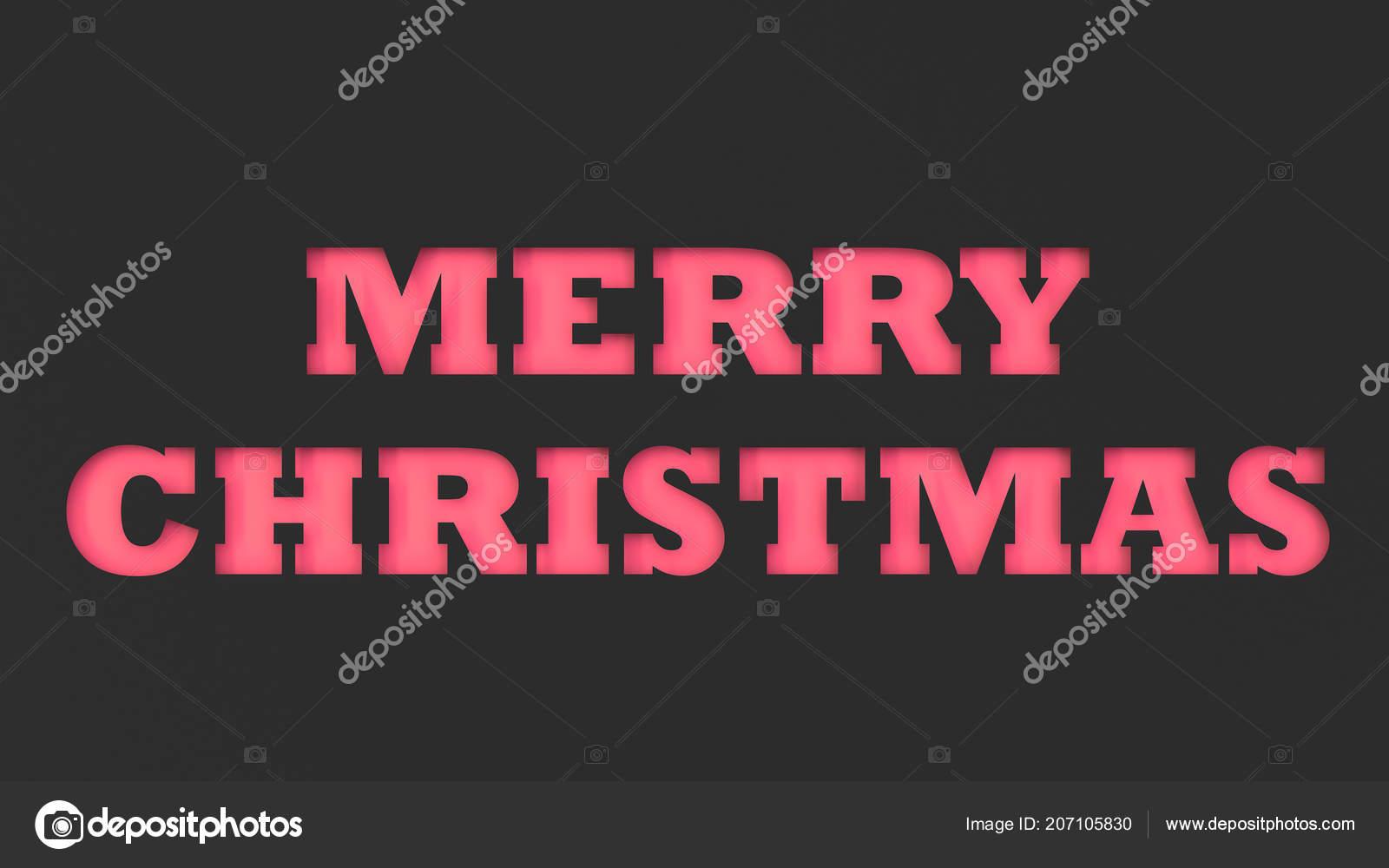 Merry Christmas Rot Worte Schwarzem Papier Geschnitten Rendering ...